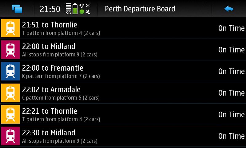Perth Train Departure Board